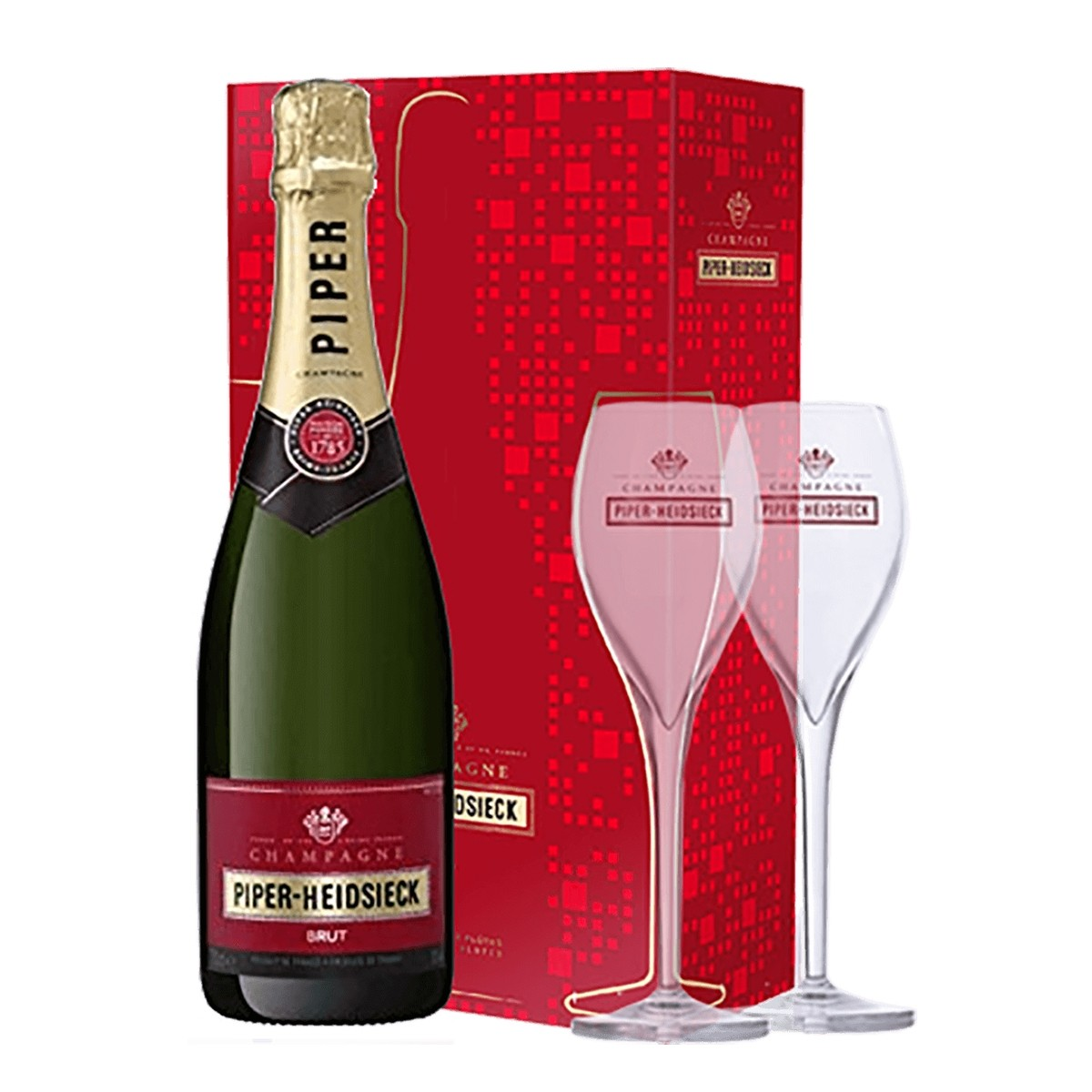 Champagne Piper Heidsieck Brut 750 ml + 2 pahare
